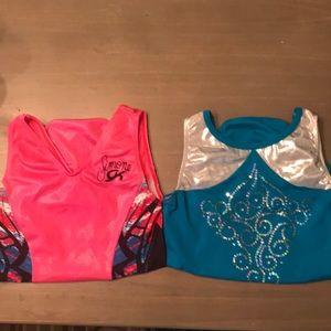 Bundle with GK gymnastics leotards pink blue